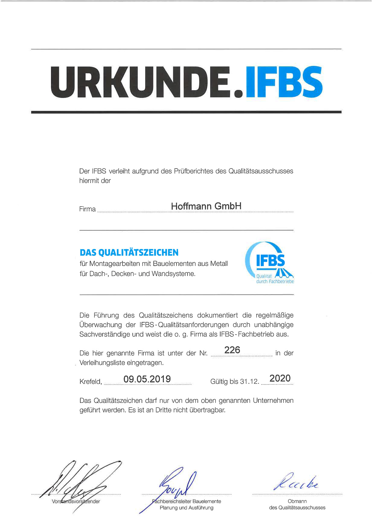 Hoffmann erhält erneut Qualitätsauszeichnung 2019