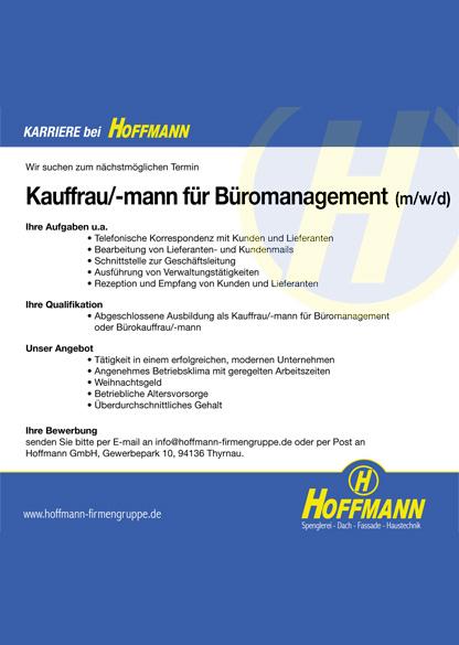 Stellenanzeige Job Kauffrau/-mann für Büromanagement (m/w/d)