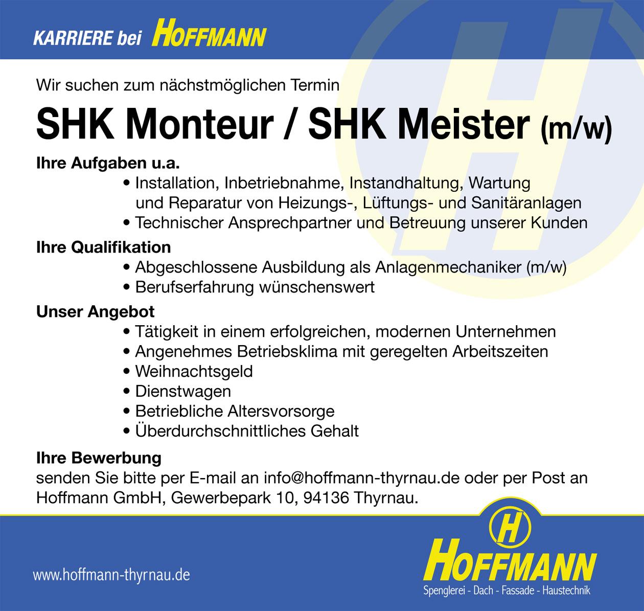 Wir suchen SHK Monteur / SHK Meister - Hoffmann GmbH Thyrnau Passau