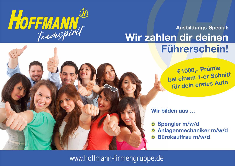 Ausbildungs bei Hoffmann - drei Ausbildungsberufe ab 1.9.2020, inkl. Übernahme der Kosten der PKW Führerscheinausbildung