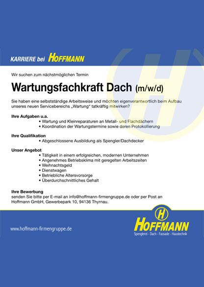 Stellenanzeige Job Wartungsfachkraft Dach (m/w/d)