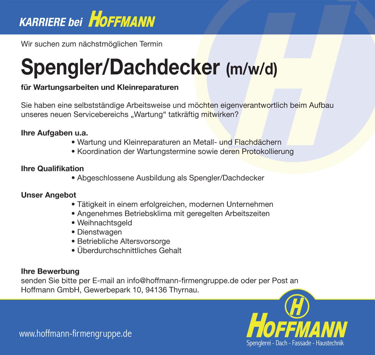 Stellenanzeige Job Spengler/Dachdecker (m/w/d) Hoffmann