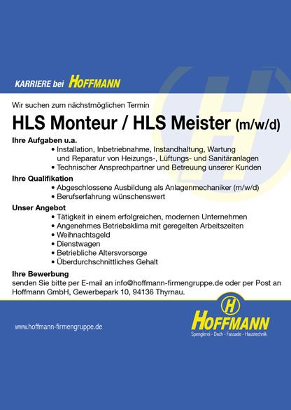 Stellenanzeige Job HLS Monteur / HLS Meister (m/w/d) Hoffmann