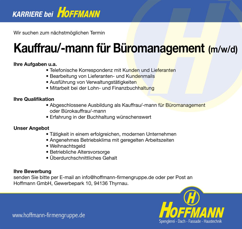 Stellenanzeige Job Kauffrau/-mann für Büromanagement (m/w/d) Hoffmann