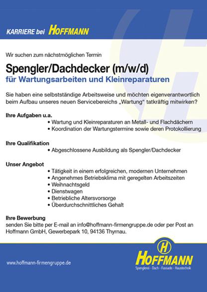 Stellenanzeige Job Spengler Dachdecker Hoffmann