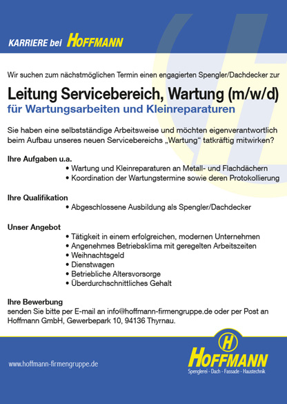 Stellenanzeige Job Spengler, Dachdecker zur Leitung Servicebereich, Wartung Hoffmann