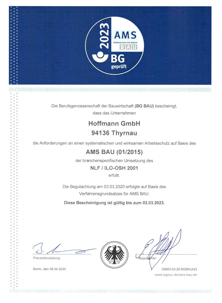 AMS Zertifizierung Hoffmann Firmengruppe