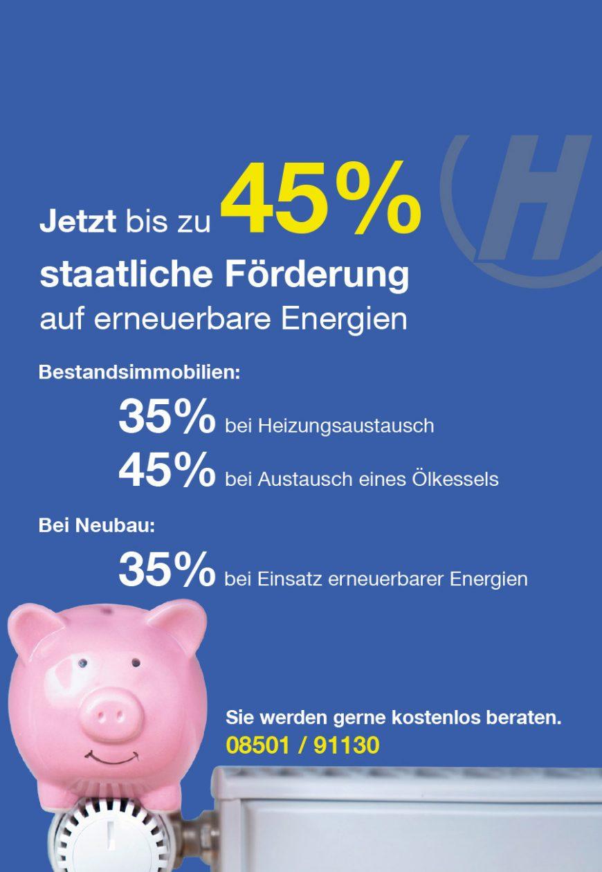 Jetzt bis zu 45% staatliche Förderung auf erneuerbare Energien Hoffmann
