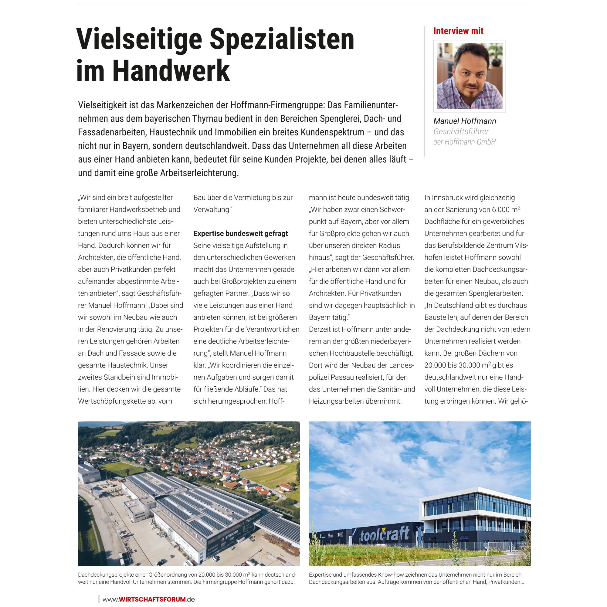 """Interview Wirtschaftsmagazin """"Wirtschaftsforum"""" mit Manuel Hoffmann"""