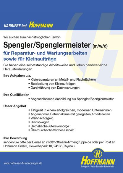 Hoffmann GmbH Job Karriere Stellenanzeige Spengler/Spenglermeister (m/w/d)
