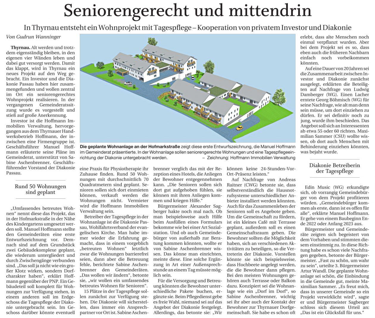 Hoffmann Firmengruppe -Seniorengerecht und mittendrin Thyrnau, PNP